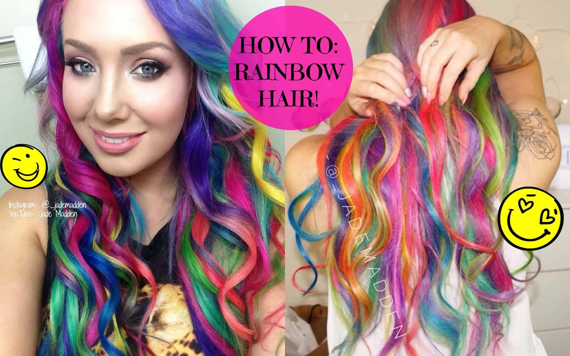 Curly rainbow hair