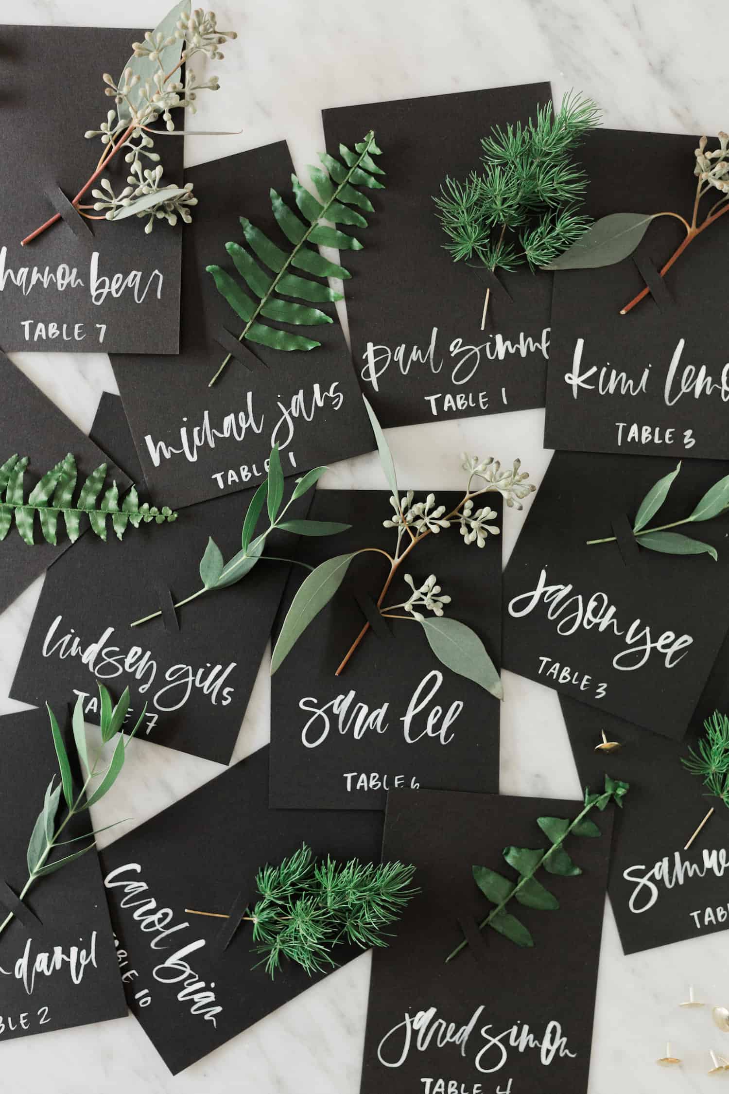Fresh greenery place cards