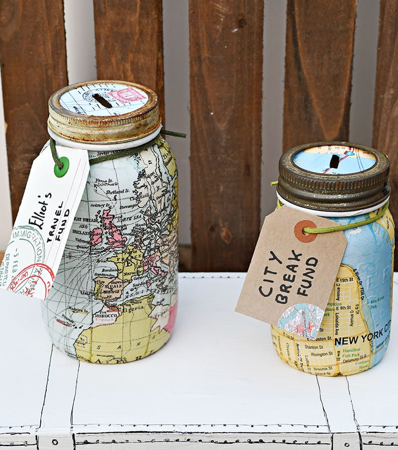 Map mason jar banks