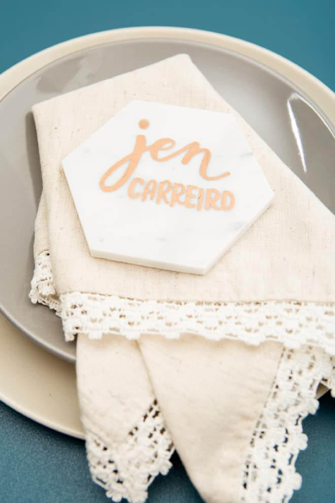 Marble hexagon place cards
