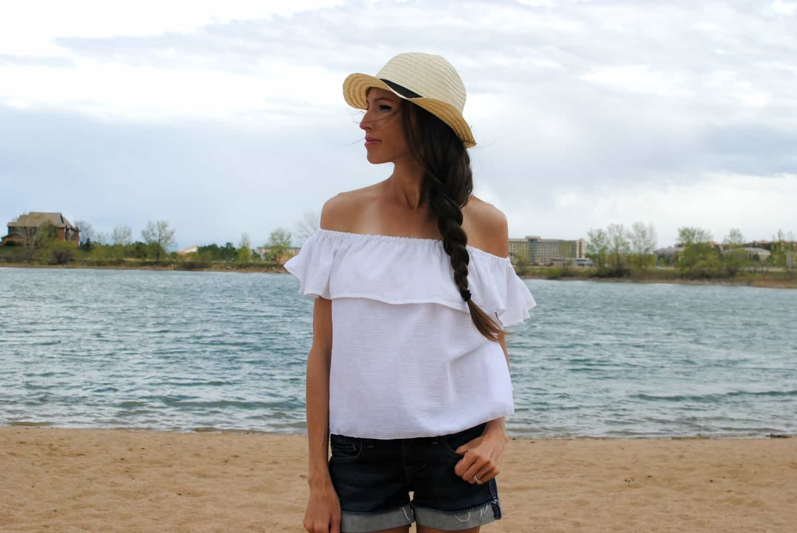 Off the shoulder ruffled top