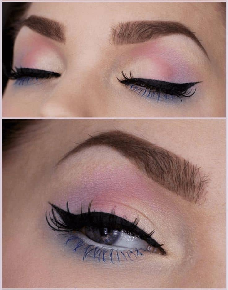 Pastel creases and bright mascara