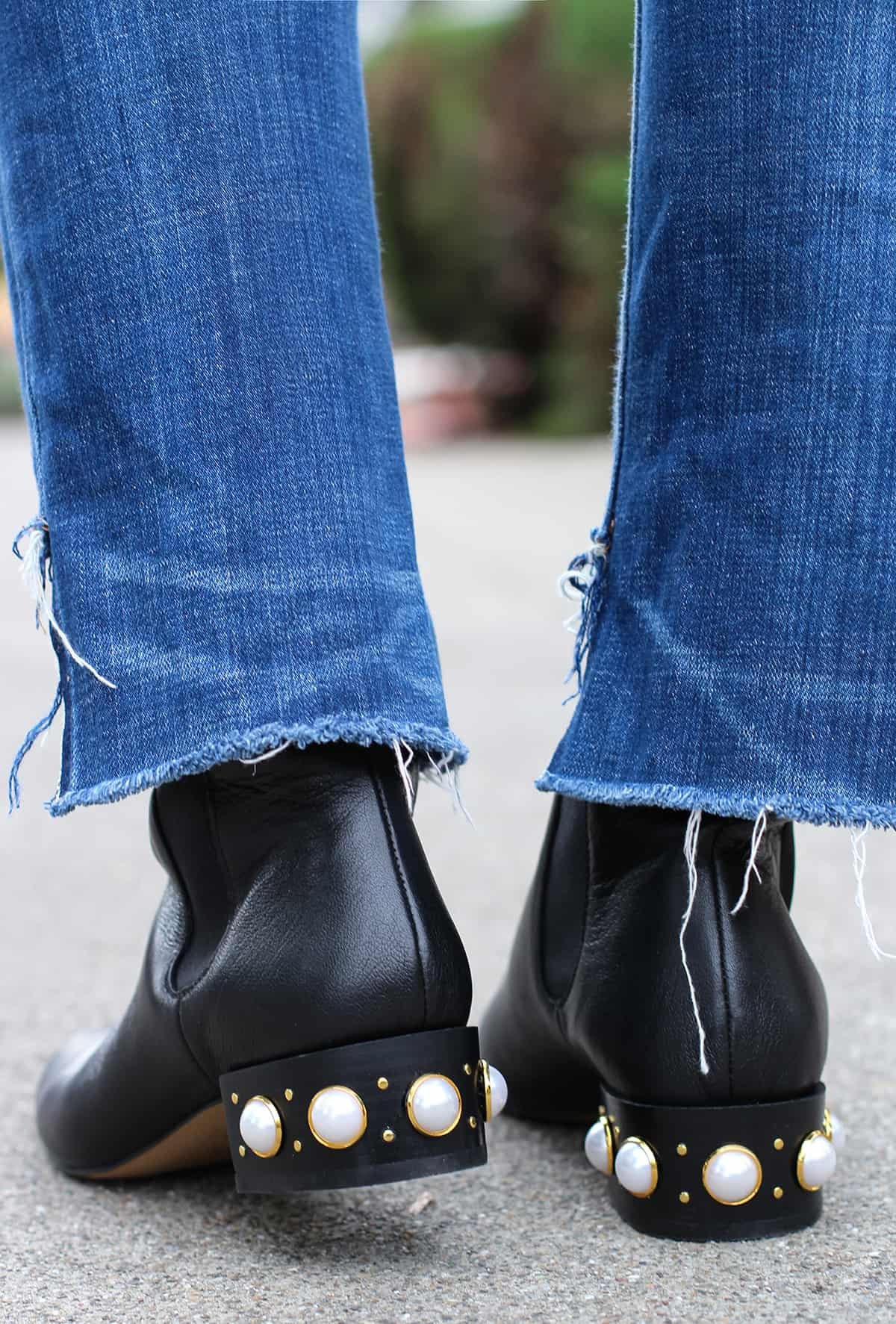 Pearl studded boots