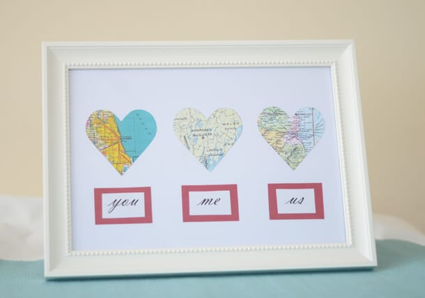 Personalized map hearts