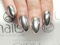 Silver mirror almond nails  200x150 Modern and Trendy Manicure: DIY Almond Nails