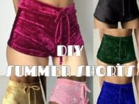 Simple high wasited velour shorts 200x150 15 DIY Shorts Tutorials To Make Before Summer