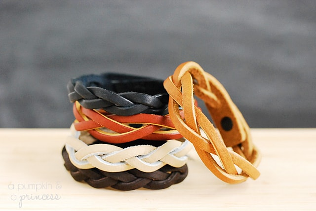 Simplistic leather braided bracelets