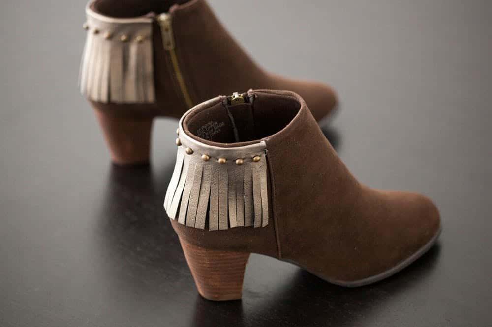 Studded fringe boots