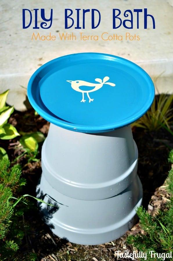 Terra cotta pot bird bath
