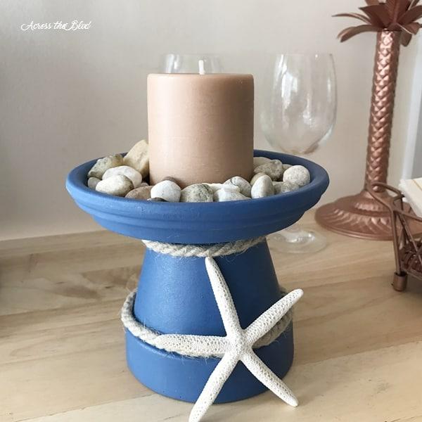 Terra cotta pot candle holder