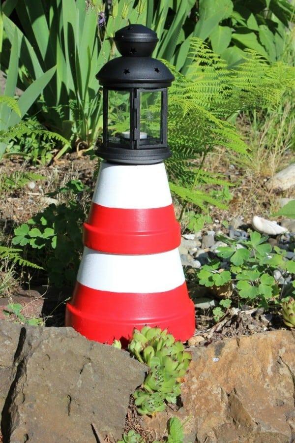 Terra cotta pot garden lighthouse