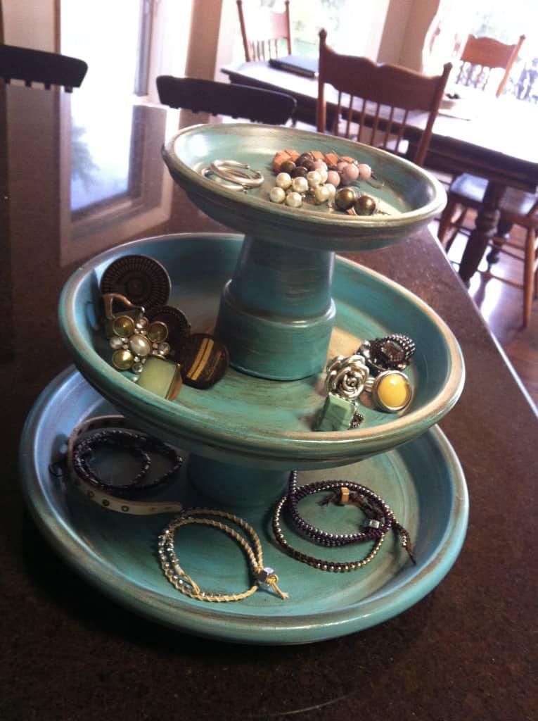 Terra cotta pot jewelry stand