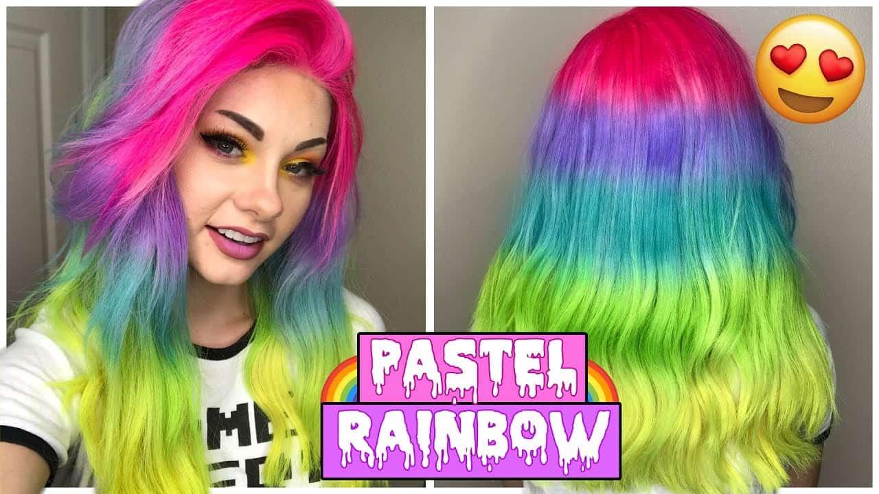 Wig rainbow hair