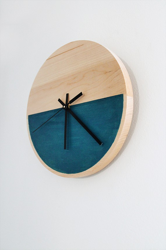 Acrylic painted half colour clock