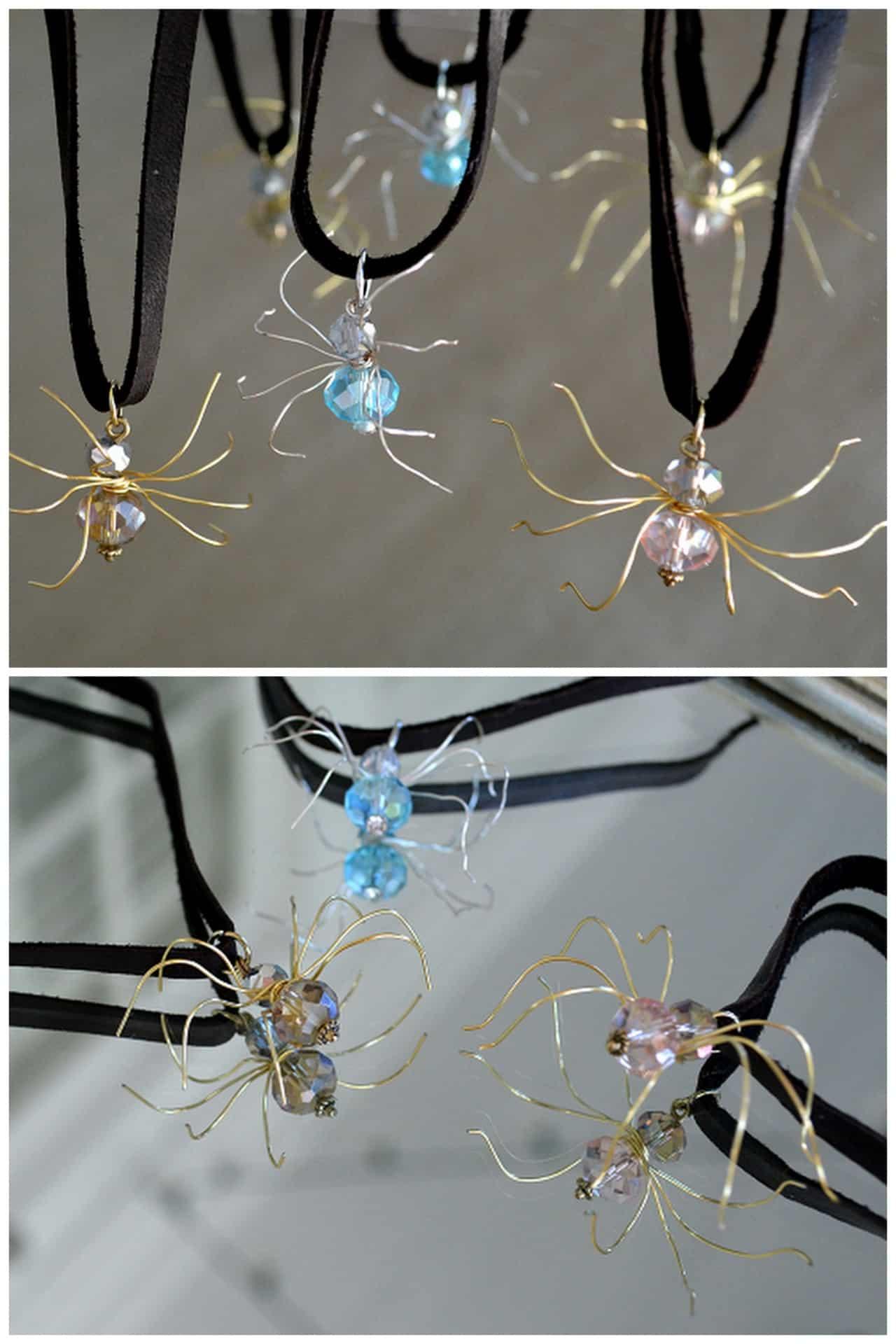 Bead and wire velvet spider choker