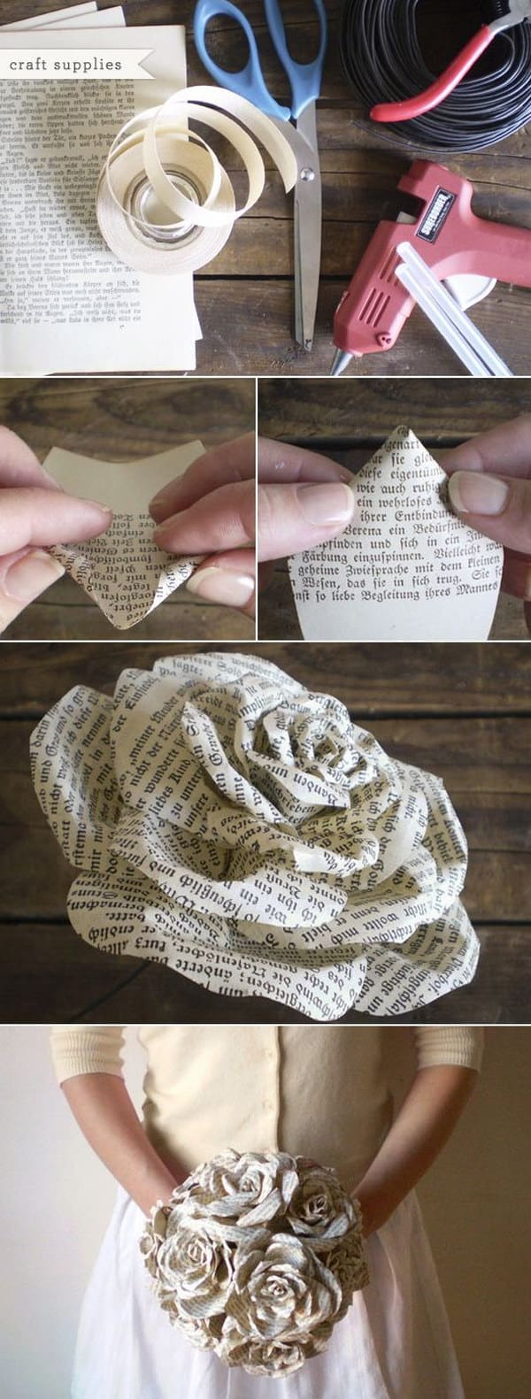 Book page origami rose bunches