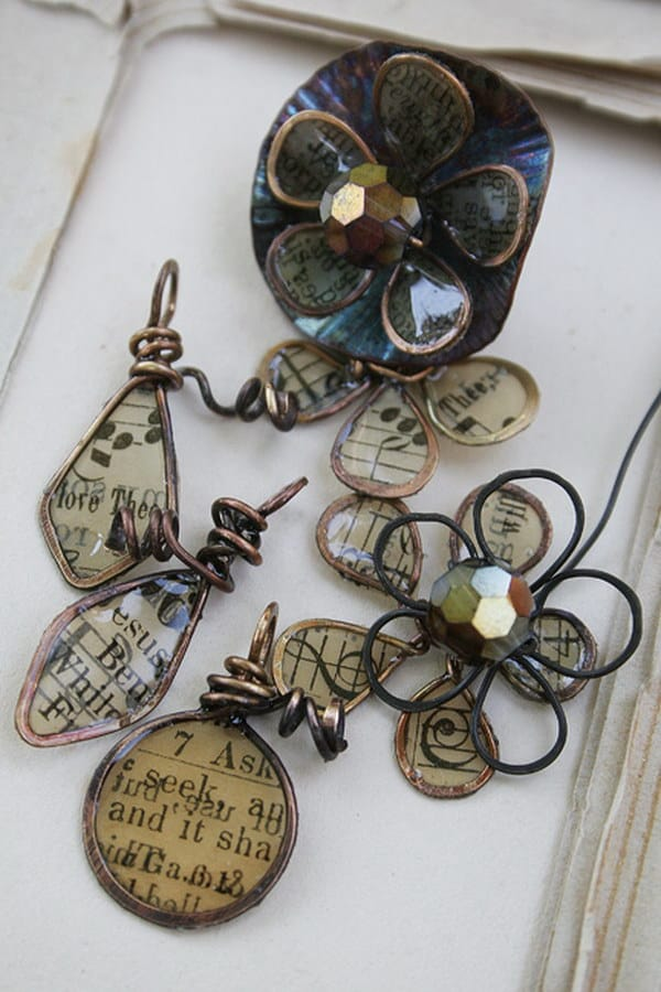 Book page, resin, and wire brooches