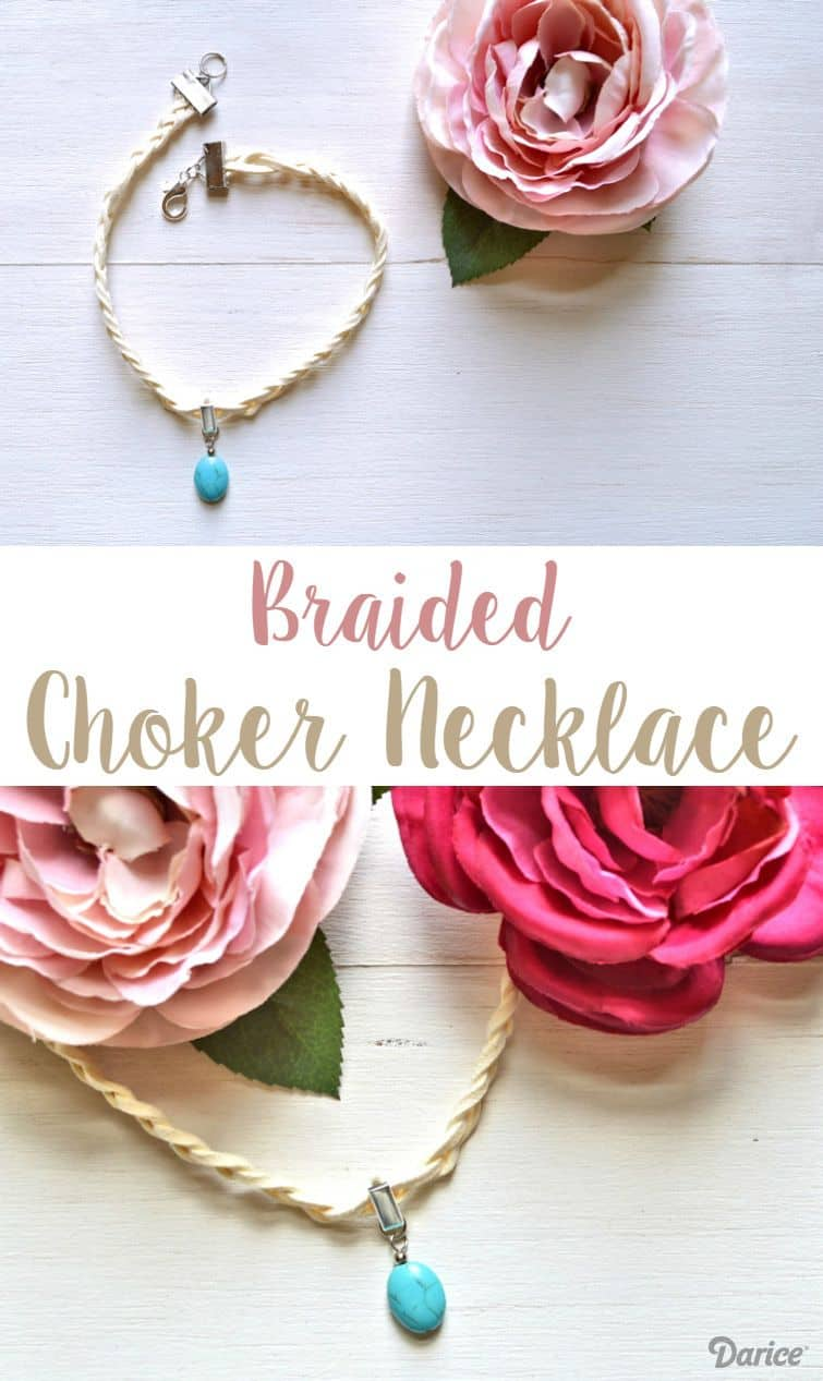 Braided suede and drop bead choker