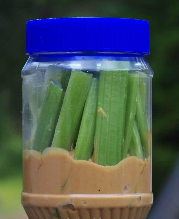 Celery and peanut butter jar