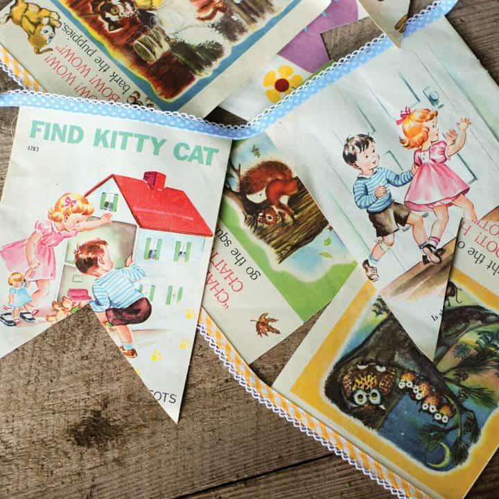 Children's book illustraed page bunting
