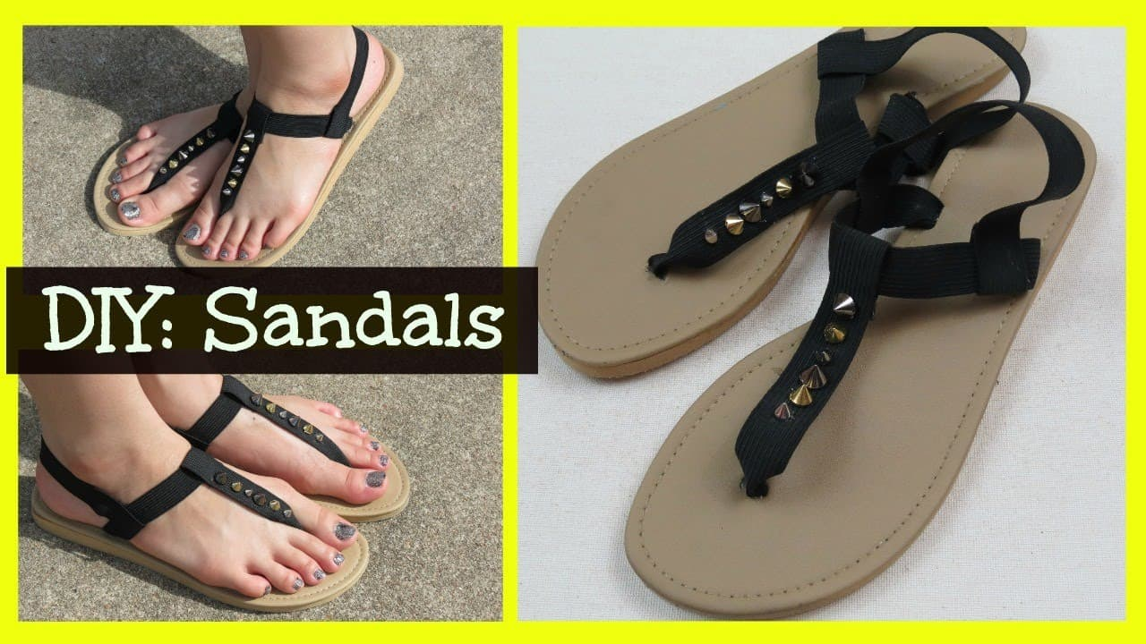 DIY hand studded stappy sandals