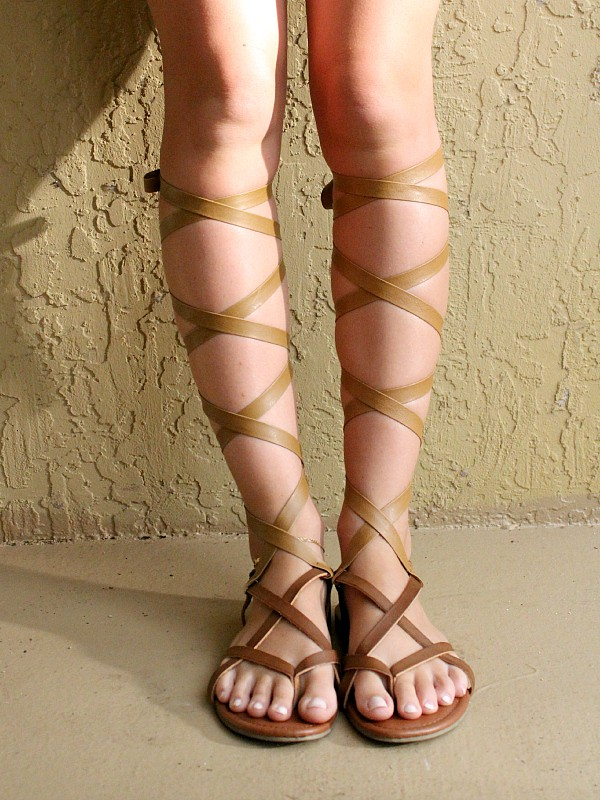 DIY knee high gladiator sandals