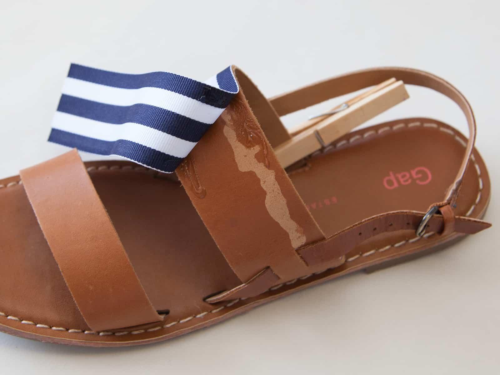 DIY ribbon applique sandals