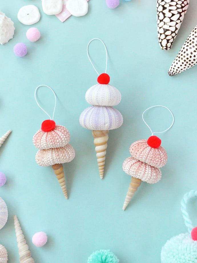 DIY seashell ice cream ornaments