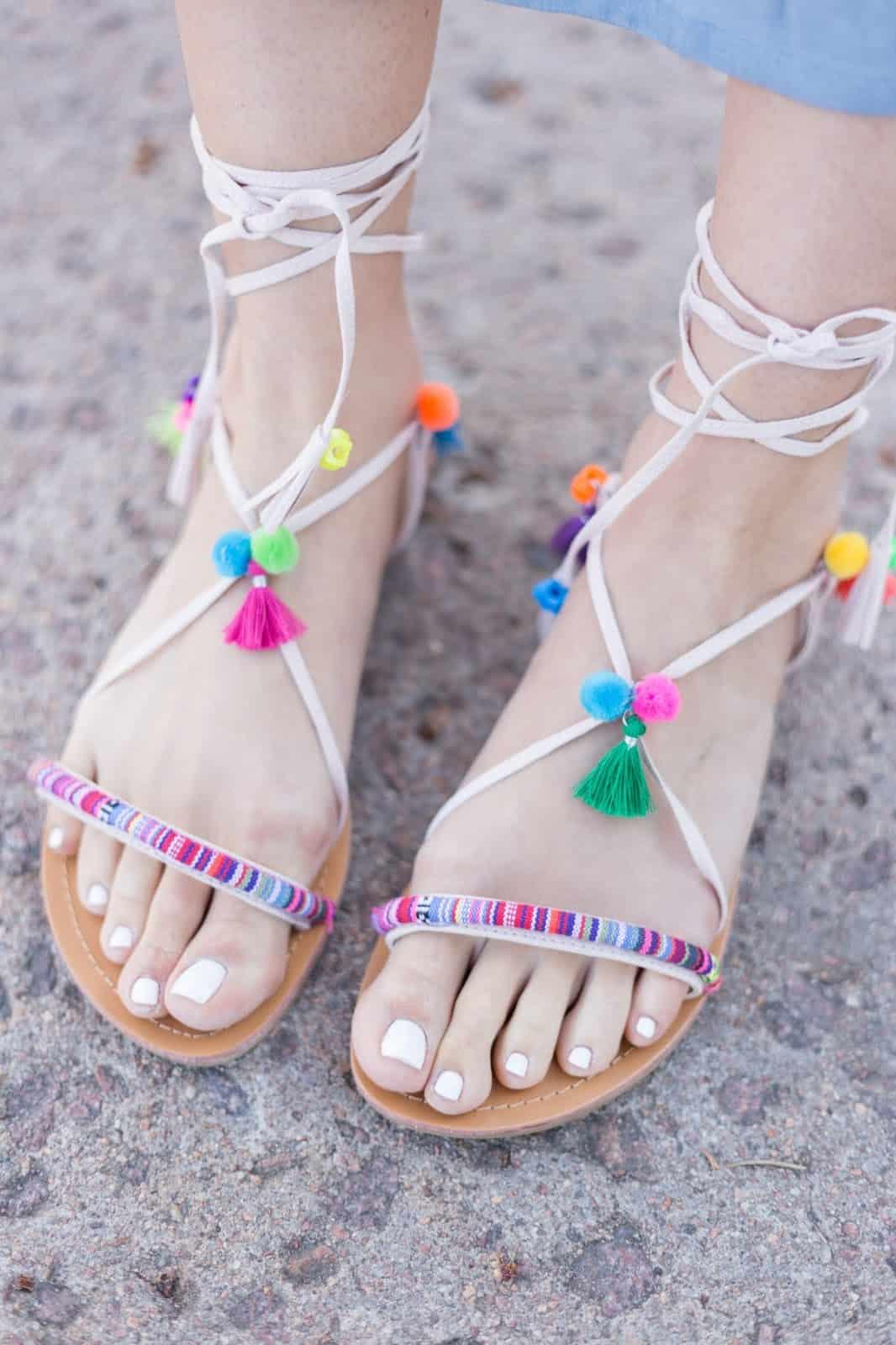 DIY tassel sandlas