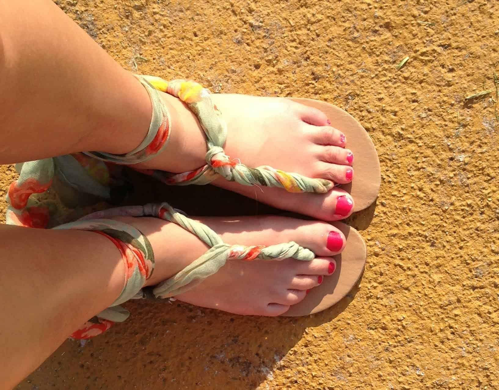 DIY twisted scarf sandals