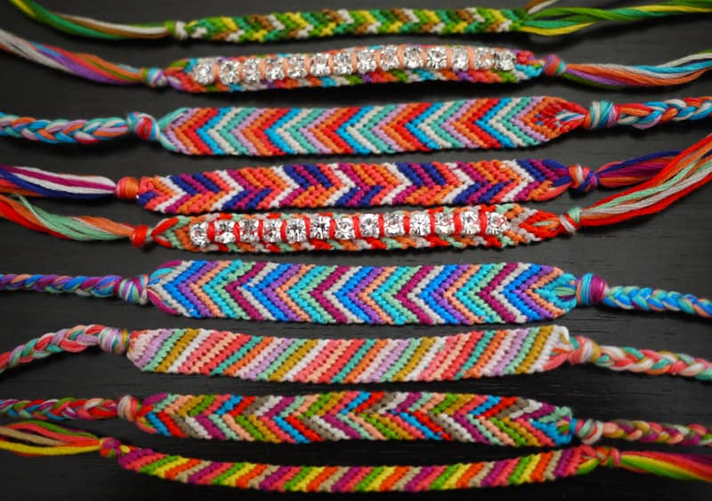 Embroidery thread friendship bracelets with rhinestones