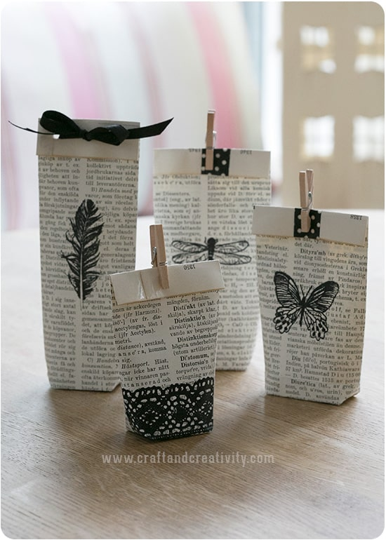 Folded book page gift pouches