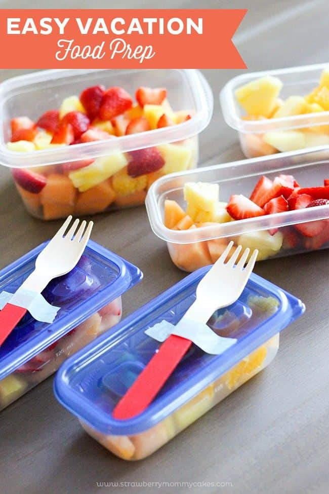 Fruit salad with travel forks