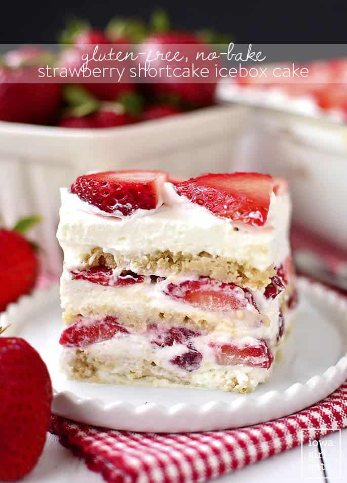 Gluten free strawberry shortcake icebox cake