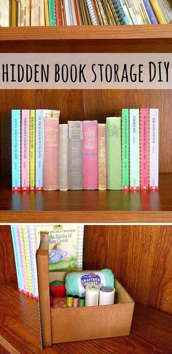 Hidden book craft storage