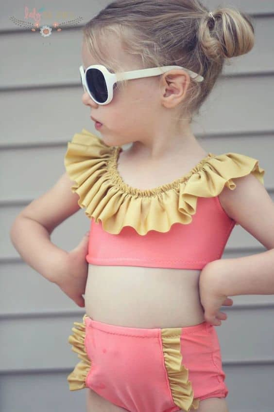 High waisted and ruffly kids two piece