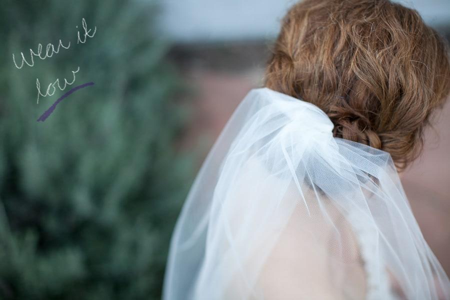 Minimalist bun wedding veil