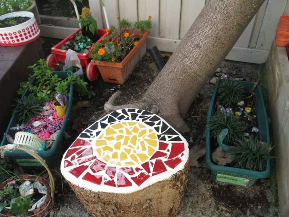 Mosaic tree stump seat