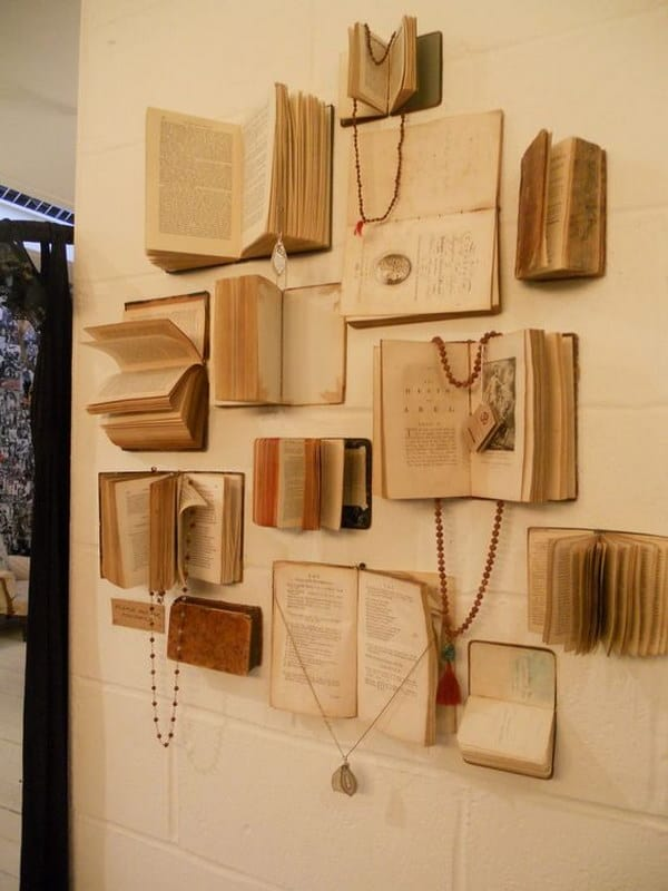 Old book and jewelry wall display