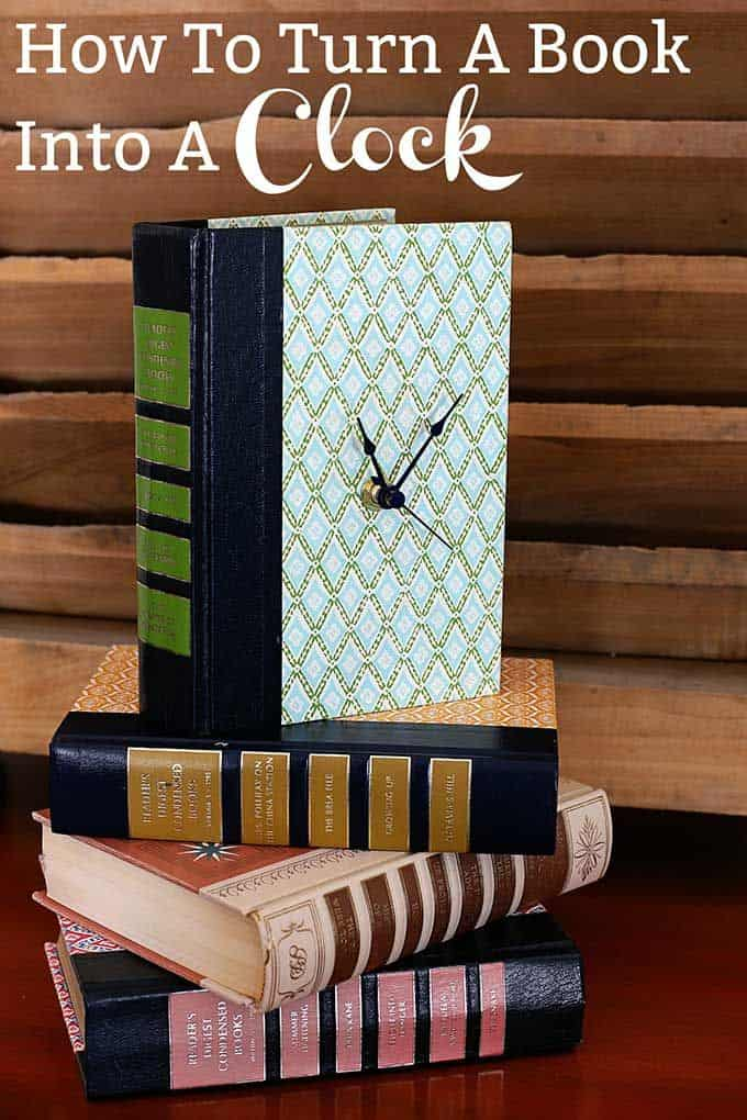 Old book upcycled into a clock