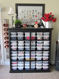 Organized, labeleld tubs on shelves