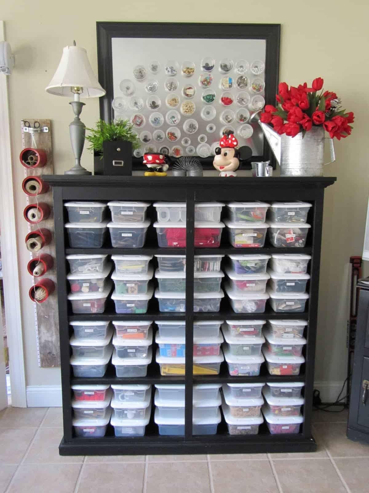 Organized, labelled tubs on shelves