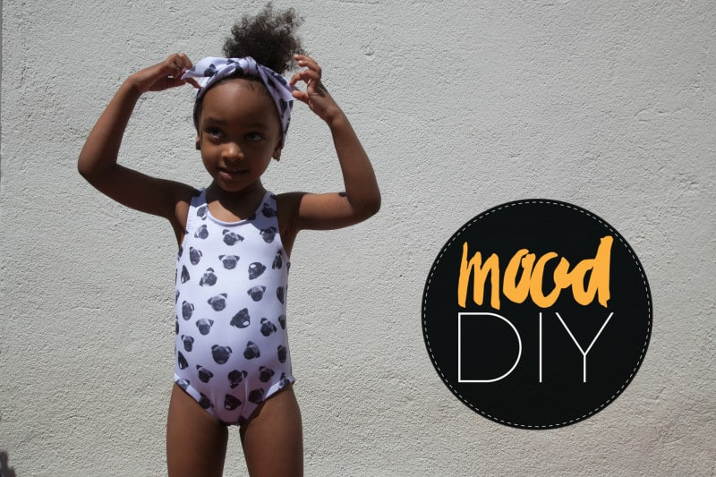 Printed girls one-piece with matching hairband