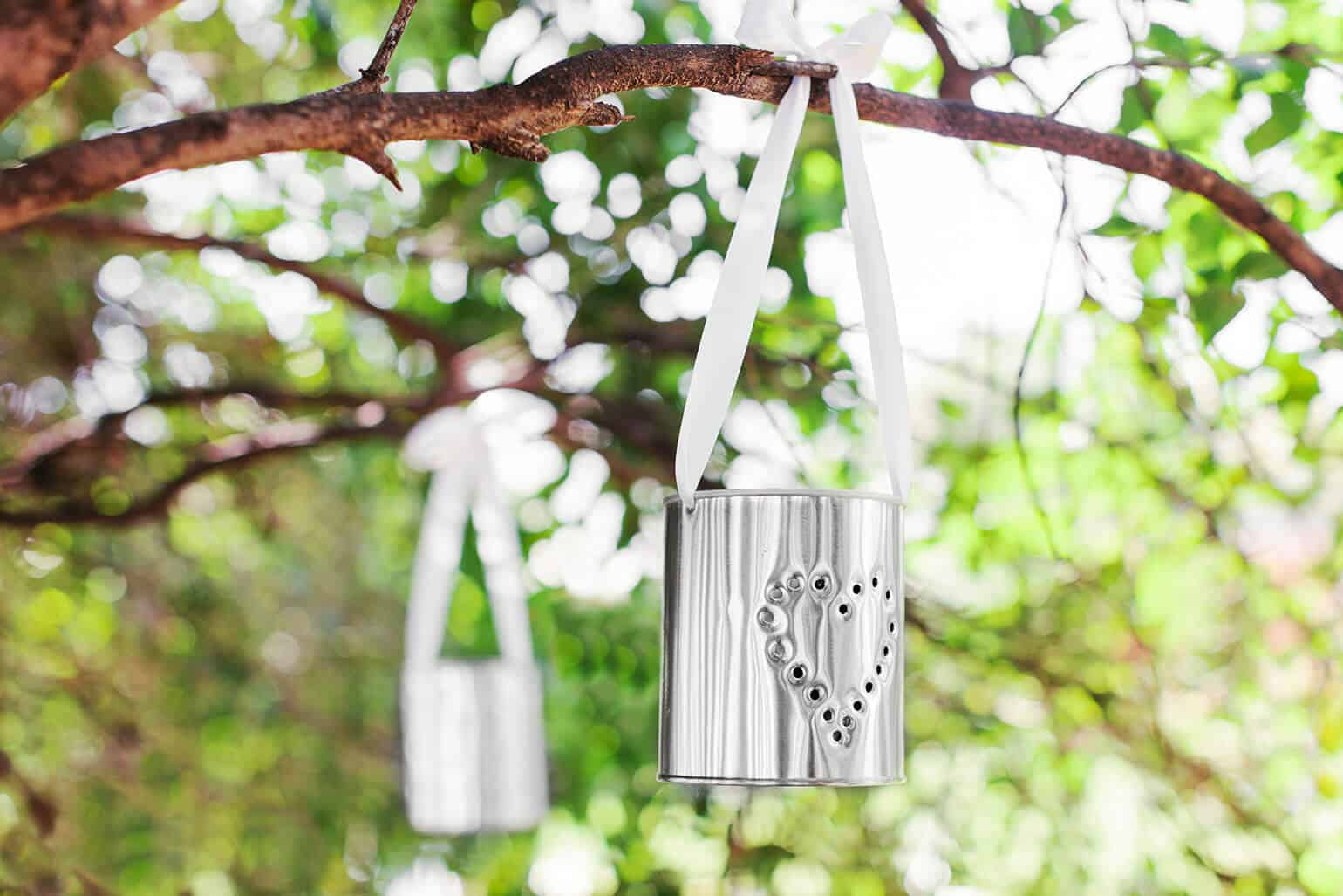Punched can hanging luminaries