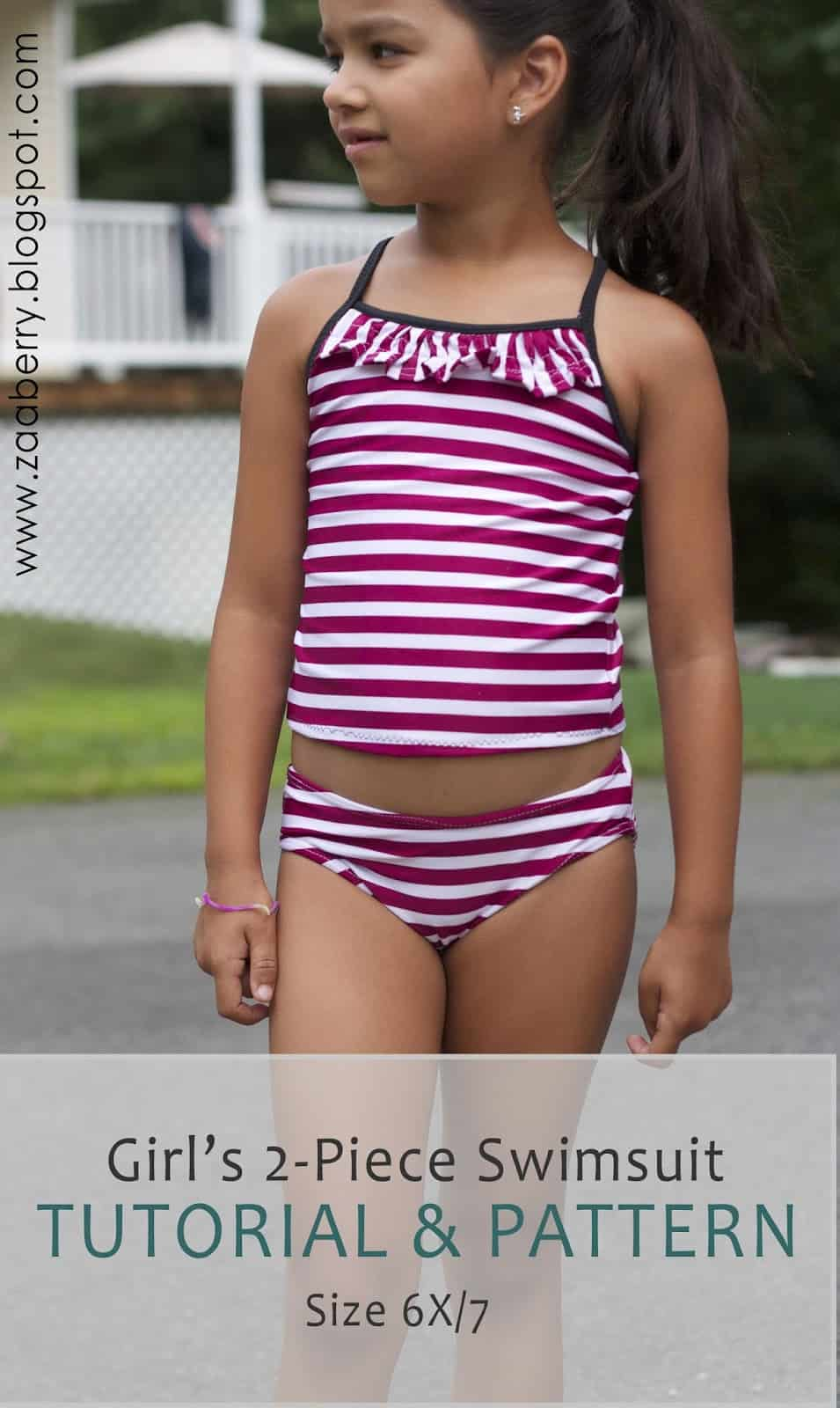 Ruffled neckline two piece tankini