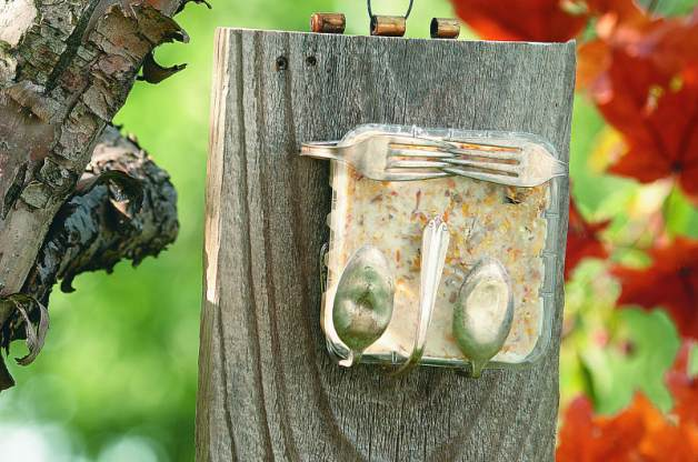 Silverware bird feeder