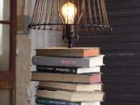 Stacked books table lamp 200x150 Study Time: 15 Creative and Easy Ways to Upcycle Damaged Books
