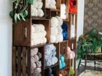 Stacked crate yarn shelves 200x150 Cozy Place for Your Cozy Crafts: 13 DIY Ways to Store Your Yarn