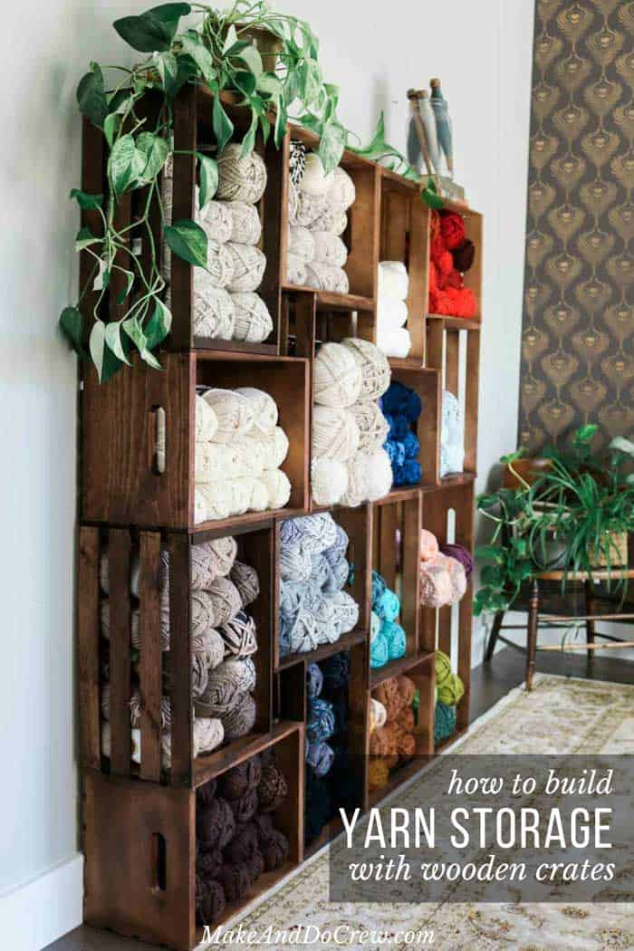 Stacked crate yarn shelves
