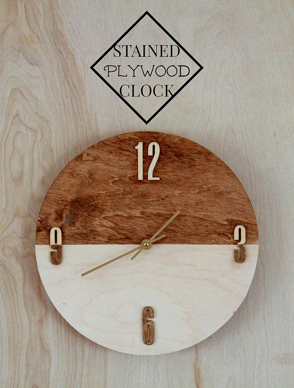 Stained plywood clock